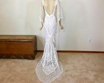 Romantic boho Wedding dress Bohemian wedding Dress PLUNGING neckline LACE Wedding Dress Simple Wedding Handmade Dress  Sz Small