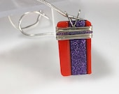 """Clemson Fan Purple and Orange  Fused Glass Pendant wrapped with Sterling Silver on a 16"""" sterling silver chain, ready to ship"""