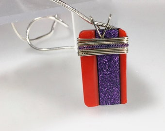 "Clemson Fan Purple and Orange  Fused Glass Pendant wrapped with Sterling Silver on a 16"" sterling silver chain, ready to ship"