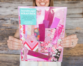 Decorative paper scrap pack for collage, scrapbooking, and paper crafts (pink)