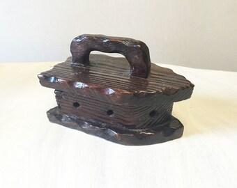 Wooden trinket box, carved trinket box, vintage trinket box, vintage iron shaped, vintage wood box, hand carved box, hand carved vintage,