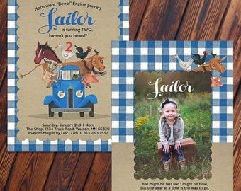 Customized Little Blue Truck Birthday Invite - Option to add Photo
