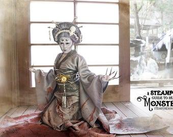 Steampunk Geisha Ghost Kimono, Obi, Corset