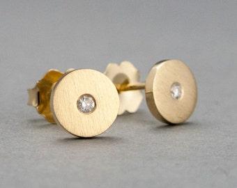 Diamond Gold Disk Stud Earrings
