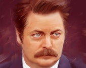 Ron Swanson parks and recreation artwork print 11x14 inches