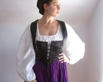 White linen peasant blouse shirt chemise for renaissance medieval faire gypsy pirate -ready to ship-