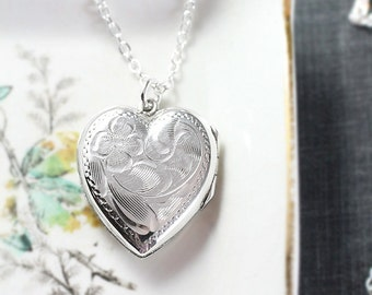 Silver Heart Locket Necklace, Vintage Flower Engraved Sterling Charm Pendant - Classic Traditions