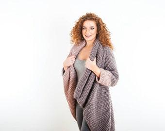 Luxury Waterfall Merino Cardigan Chunky Coat Mink/Pewter Blush