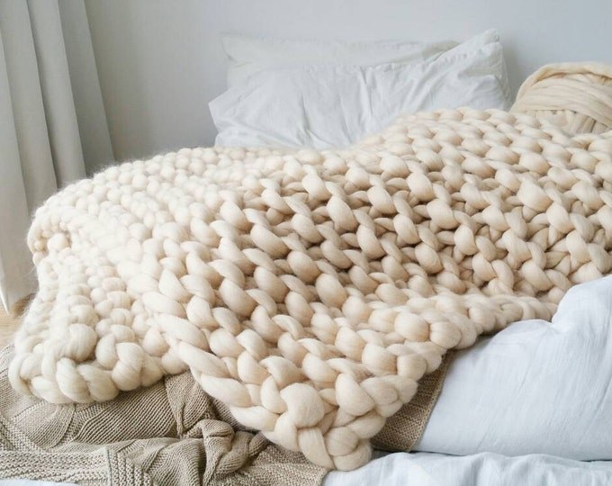 Featured listing image: Chunky Knit Blanket. Luxury Cream Bed Runner. Chunky Knit Throw. Merino Wool Rug