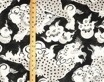 Dunmore Dragons Black Orchid Waverly Linen Fabric