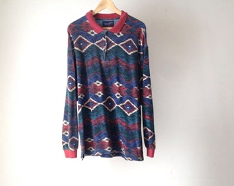 Wrangler vintage NATIVE AMERICAN 90s long sleeve SOUTHWEST polo shirt