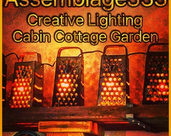 "Lanterns / Lantern Swag /Kitchen Grater Lamps / Edison Style Bulbs / Primitive / 9' / 9.5"" X 4"" X 3"""