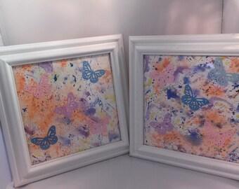 Watercolor Framed  Original Abstract Butterfly Art Pair Nursery Art Little Girls Art