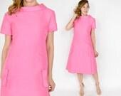 Reserved | 60s Bubblegum Pink Dress | Silk Wool Evening Party Dress | Medium