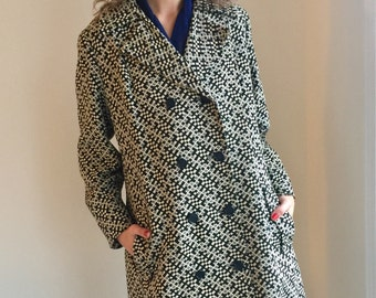 vintage 60s mod coat black and ivory white coat / 70s tent hippie jacket / spring fall plus size