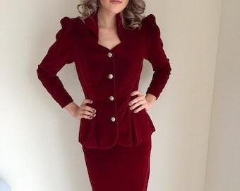 vintage velvet suit/red velvet/claret / 1980s 80s 1940s 40s/ classic film noir/ ivanka trump/ size small