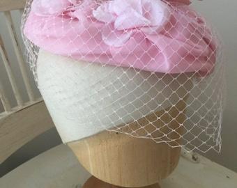 ON SALE vintage 1960s 60s pink hat fascinator veil flowers 1950s 50s wedding prom