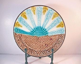 Antique Majolica Plate of Fan