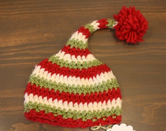 Red, Green and White Stocking Cap - Baby Christmas Hat