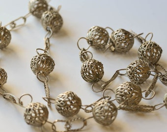 Silver Bead Necklace Long Mexican Silver Filagree Bead Necklace