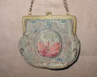 Antique 1910's Silk Tapestry Evening Purse made in France