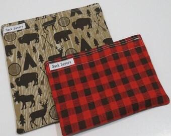 Reusable Sandwich and Snack Bag Set Eco Friendly Tee Pee Moose Bear Woodland Red Plaid Bag Set