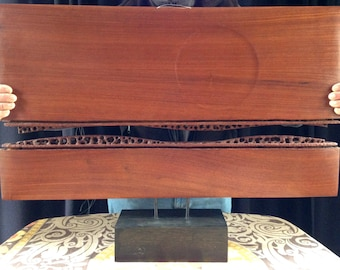 """DOUG AYERS Handcrafted 2-Piece """"Wave/Sun"""" Modern Hong Kong Rosewood Sculpture Pierced and Chip-Carved"""