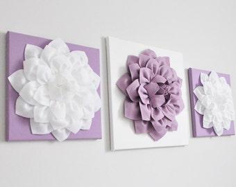 Purple Decor, Flower Wall Hangings, Purple Home Decor, Canvas Wall Art,3D Flower, Purple, Nursery Room Decor, Purple Bouquet, Lilac Set of 3