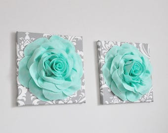 Seafoam Wall Art- Mint Green Roses on Gray Damask Canvases - Handmade Wall Hanging, Bohemian Weaving, Woven Wall Art, Mint Nursery, Bathroom
