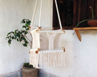 ECO BABY SWING/In recycled Teak- Kids-100% Cottom Thread in Mustard Color- Custom Colors and Sizes available!Ships from Nicaragua-