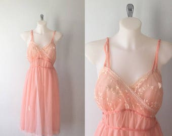 1950s Kayser Nightgown, Vintage Nightgown, Kayser, Pink Nightgown, Chiffon Nightgown, Vintage Lingerie, Romantic, Summer Nightgown