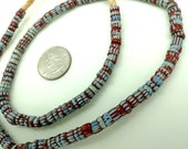 Old Trade Beads, Venetian Glass Beads, Gray Grey Chevrons, Awale, Blue, Red White Blue Striped Glass Beads