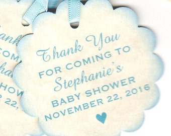 Baby Shower Personalized Thank You Nail Polish Favor Tags, Baby Boy Label Gift Tags, Blue Boy Favor Tags - Set Of 20 Vintage Style