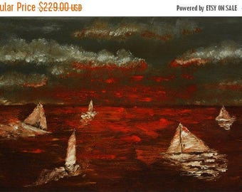 15% OFF /ONE WEEK Only/ Sailing abstract knife by Paul Juszkieiwcz black red orange gray