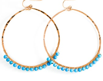 Turquoise Hoop Earrings - XL Turquoise Earrings - 14K Gold Filled, Rose Gold and Sterling Silver and Turquoise - Turquoise Blue Earrings