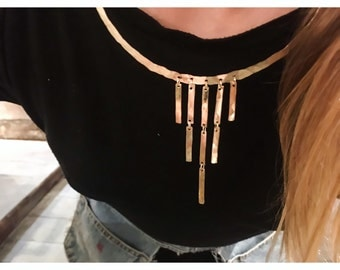 Gold Cascade Collar - Gold Choker Necklace - Statement Choker Necklace - Gold Choker Collar Bib Fringe - 14k Gold Fill Curved Arc Necklace