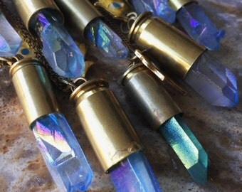Quartz Crystal Bullet Necklace/ Natural Gem Stone/ Citrine Pendant/ Birthstone Necklace/ Amethsyt Pendant/ Peach Quartz/ Bullet Necklace