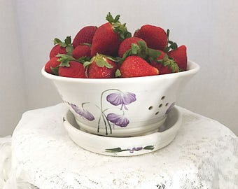 Berry bowl, ceramic berry bowl, clay colandar with seperate catch plate, white with purple flowers berry bowl, porcelain clay berry bowl