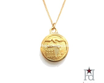 Vintage Engineer Button on Simple Gold Setting, 18-inch Gold-Plated Necklace // 13525
