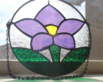 ROUND STAINED GLASS- Purple Flower Suncatcher Stained Glass Window, Under 40, Wedding, BIrthday Gift, Small Stained Glass, Purple Home Decor