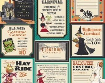 Trick or Treat from Penny Rose Fabrics - Full or Half yard Treat Main Teal - Halloween Ads
