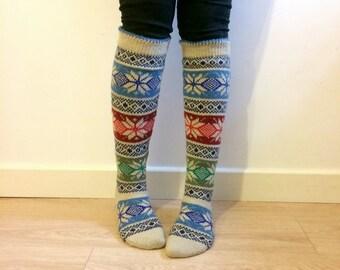 Knee Length Wool Socks Traditional Christmas Star Pattern, Scandinavian, Nordic, Winter