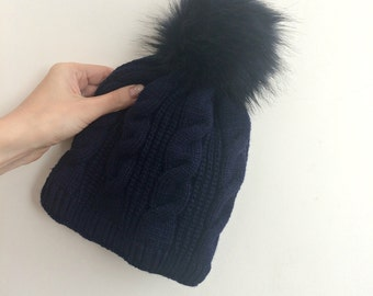 Ready To Ship Faux Fur Pom Pom Knitted Wool Hat Navy Blue Cables Beanie Fleece