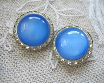 Vintage Rhinestone and Blue Glass Cab Earrings ~ Clip On