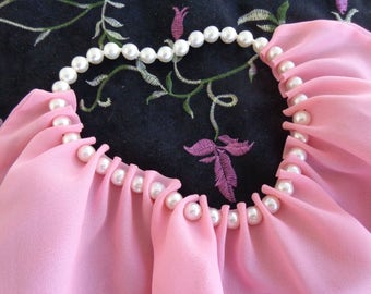 Neck Scarf - Vintage Pearl Pop Beaded pink triangular neck scarf