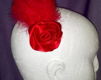 Red rose and feather hairclip