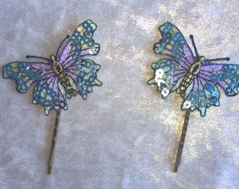 Lilac and green sequinned butterfly hairgrips