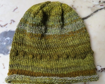 Hand Knit & Hand Spun Winter Slouchy HAT in Linden Green with Nupps