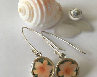 Michigan City Orange Lily - Sterling Silver Photograph Earrings