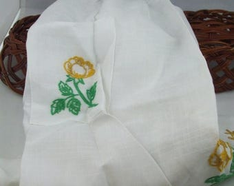 SALE 50% OFF Vintage Half Apron green and gold embroidered